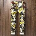 29 ~ 36 ropa 2016 de Los Hombres pantalones de flores pantalones casuales delgado recta pantalones largos de moda de impresión de dibujo pantalones disfraces