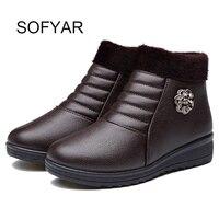Antislip moeder laarzen winter warm katoen schoenen groothandel lederen schoenen korte laarzen enkel zip oude vrouwen big size solid schoenen