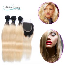 Famous Dark Root Ombre 1b 613 Blonde Virgin Hair With Closure Straight Brazilian Human Hair Weave Bundles With Lace Closures