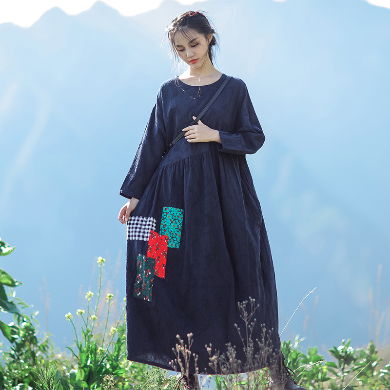 Johnature Women Cotton Linen Dress Appliques Vintage Robes O Neck Long Sleeve 2019 Autumn New Casual