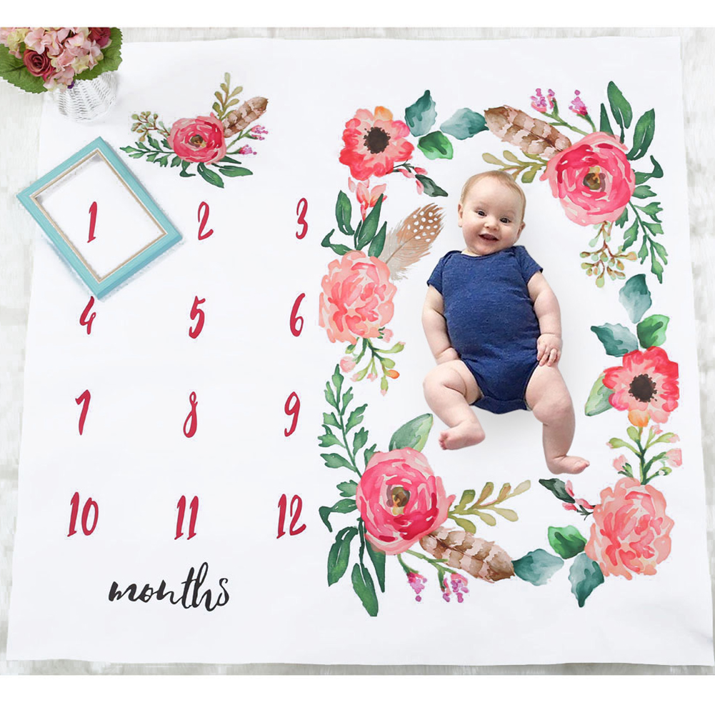 Stroller Photo Props Newborn Background Covers Blanket Boys Girls Flowers Cute Photography Monthly Growth