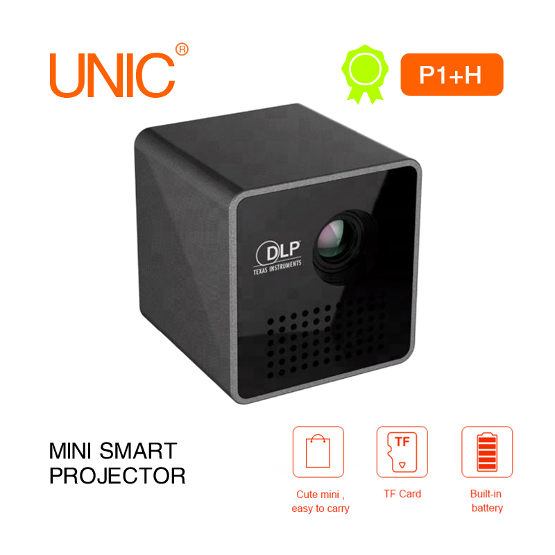UNIC Latest upgrade Mini projector P1 Plus H easy to carry WiFi DLP projector HD projection