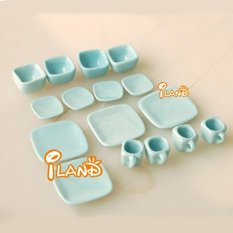 1:12 Dollhouse Furniture Toy Dolls Miniature Blue Ceramic Tea Sets Mini Kitchen Tableware Pretend Play Toys For Girls Gifts