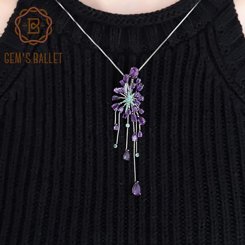 GEM'S BALLET nouveau 8.88Ct naturel améthyste violet pierres précieuses pendentifs 925 en argent Sterling gothique collier pour les femmes bijoux de fête