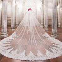 LAN TING BRIDE One layerWhite Ivory Bridal Veil Wedding Veil Cathedral Veils With Applique Bead Lace Tulle Wedding Accessorie
