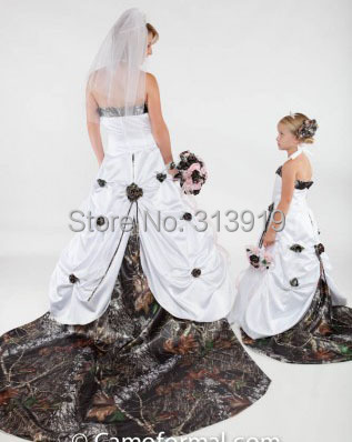 free shipping mossy oak detachable train camo wedding dress 2017 ...