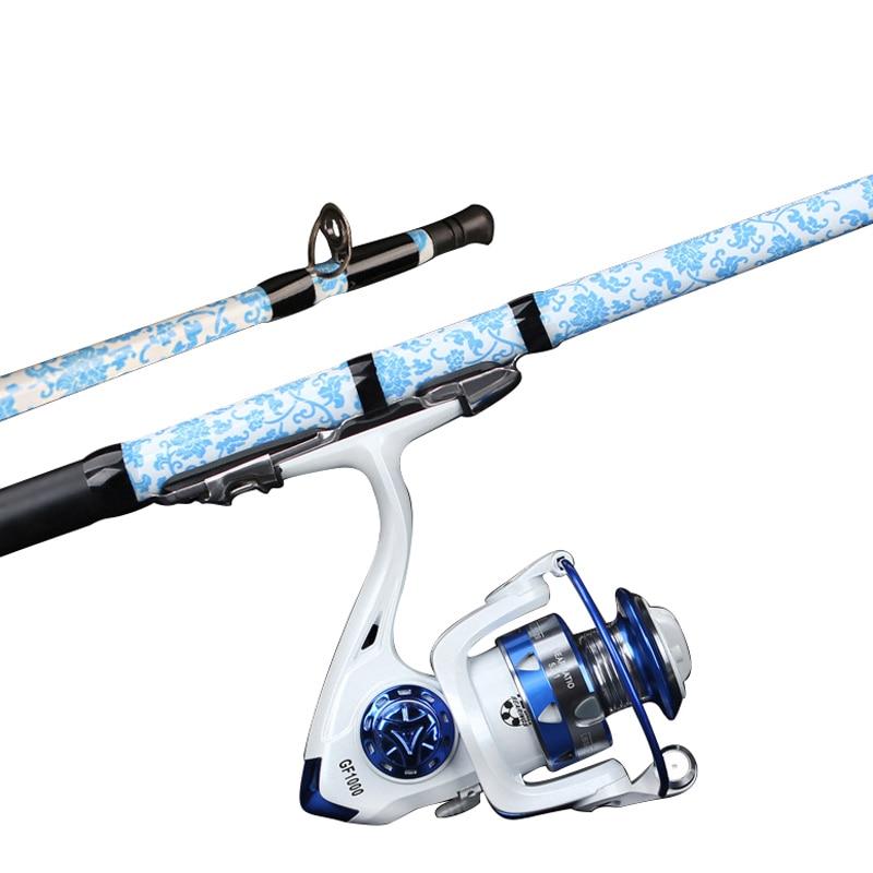 Shore jeter doux queue radeau carbone Ultra-léger Valve tige coupe pôle Style canne à pêche bleu et blanc porcelaine mer pôle vente