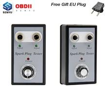 Dual Hole Spark Plug TESTER สำหรับเบนซิน 12V ปลั๊กคอยล์จุดระเบิด Analyzer Diagnostic เครื่องมือคุณภาพสูง EU Plug