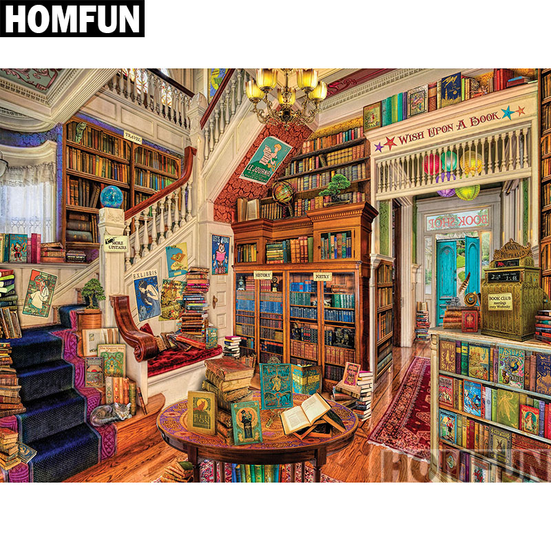 HOMFUN Full Square/Round Drill 5D DIY Diamond Painting Readers Paradise 3D Embroidery Cr ...