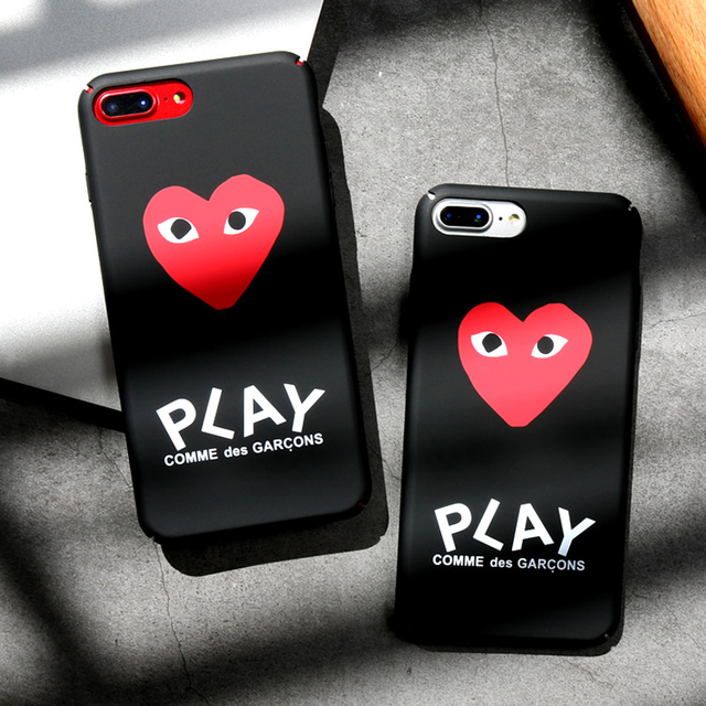 the latest 7fcad d18c9 luxury brand CDG Play Comme des Garcons Hard Matte Protect Cases For iphone  X 6s 6 7 Plus 8 8plus Phone Cover coque case