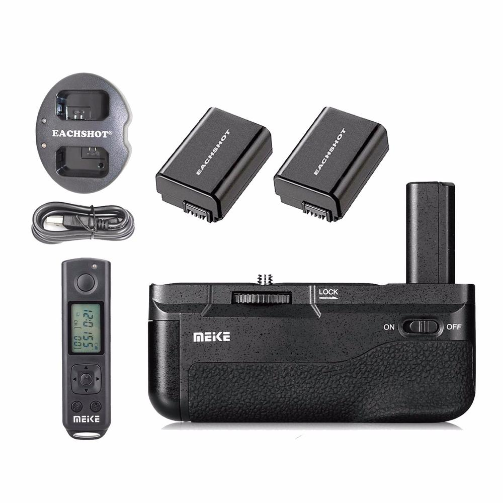 Meike MK-A6500 Pro Battery Grip + 2PCS FW50 Battery + dual Charger Built-in 2.4Ghz with Rremote For Sony A6500 meike mk ar7 built in 2 4g wireless control battery grip for sony a7 a7r a7s