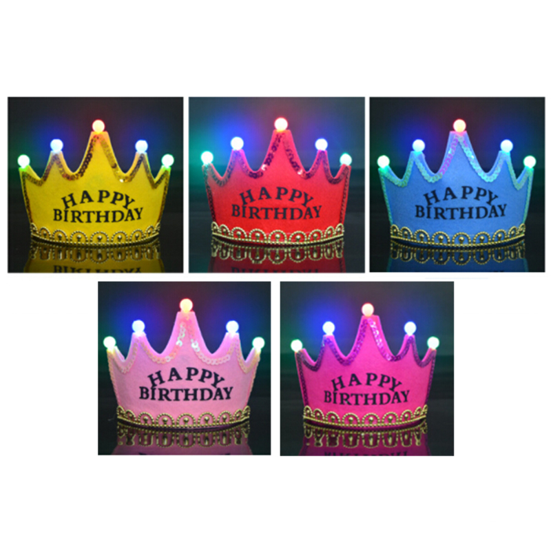 Kids Birthday Hat 5-Color Luxury Luminous Crown Birthday Party Hat HAPPY BIRTHDAY