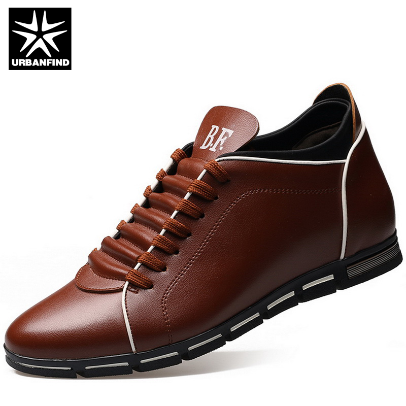 URBANFIND Men Casual PU Leather Shoes Height Increasing Design EU Size 37-42 Brand Fashion Man Dress Shoes Oxfords For Wedding