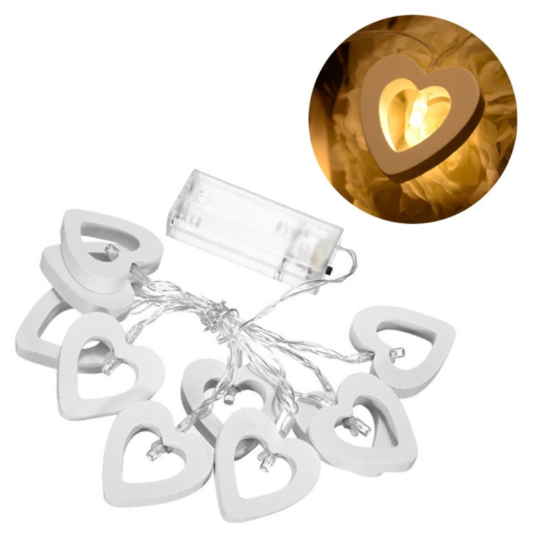 Romantic Wood Heart 1M 10 LED String Light Lámpara de San Valentín - Iluminación de vacaciones - foto 3
