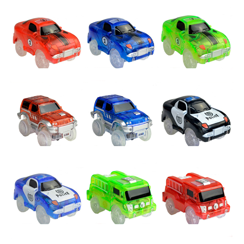 Tracks Cars LED Light Electronics Car Tracks Toy Parts Car for Children Boys Birthday Christmas Gift