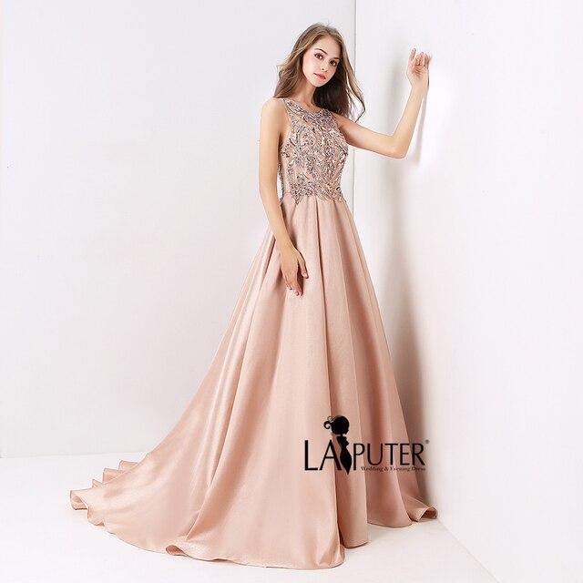 Laiputer poussiéreux rose Sexy formelle longue a-ligne soirée robe de bal de luxe perles 2020 nouvelle Collection