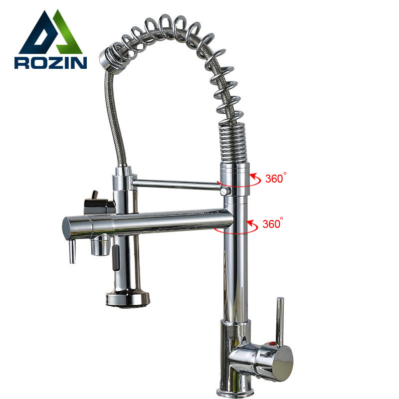 Kitchen Faucet No Water: Chrome Spring Pull Down Kitchen Sink Faucet Single Handle
