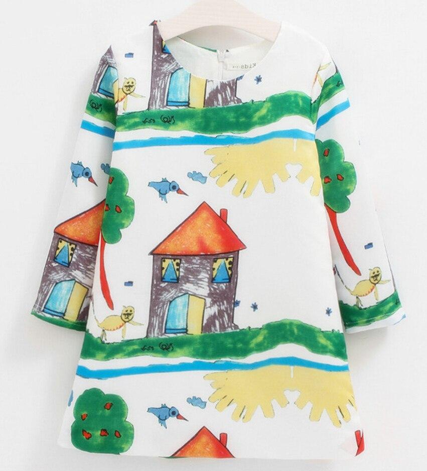 2016, Hand bemalt zeichnung baby mädchen partei kleid, Kinder ...