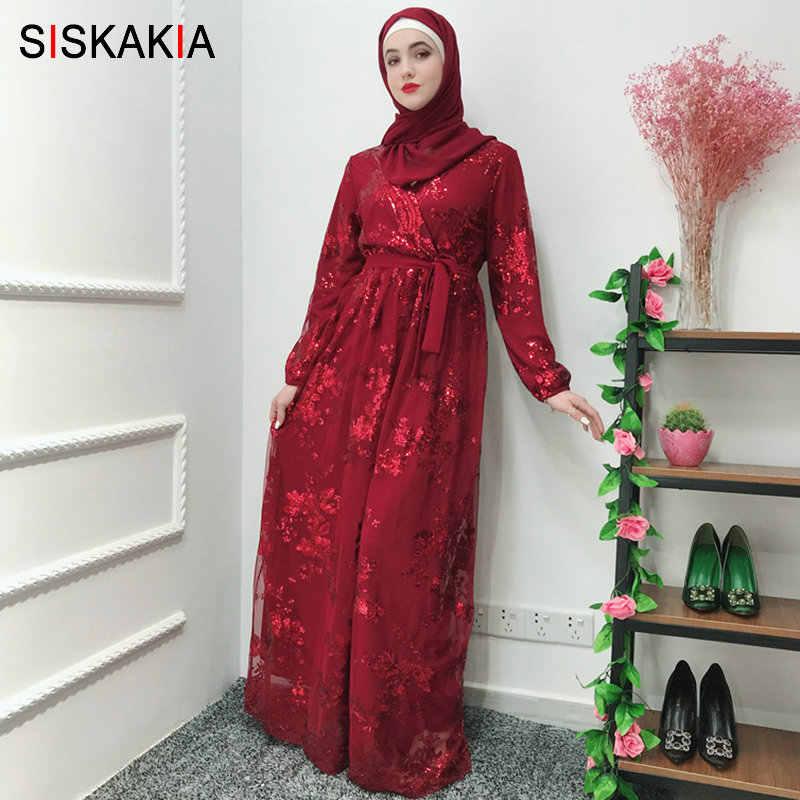 bd5348c01c Siskakia Fashion Muslim Abaya Dress Metal Color High Grade Lace Hot Stamp  Dubai Robe Arab Islam Elegant Party Dress Summer 2019