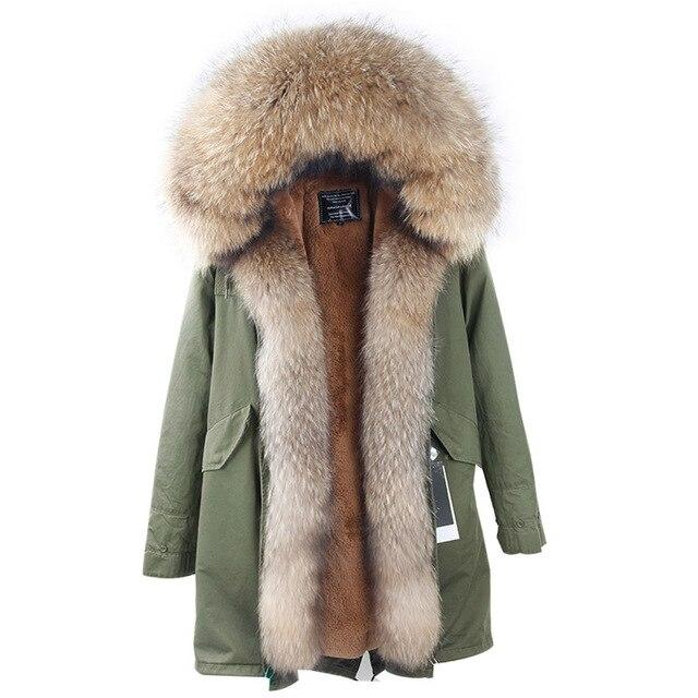 2019 marka uzun Kamuflaj kış ceket ceket kadın parkas gerçek kürk büyük doğal rakun kürk yaka kapşonlu kabanlar parka
