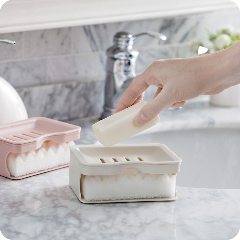 Double Drain Soap Holder With Cleaning Sponge PS Plastic Container Soap Dish Holder Box For Kitchen Bathroom Supplies