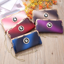 Fashion Bright Leather Women Long Clutch Wallet Phone Pocket Female Metal Wristlet Band Purse Coin carteira