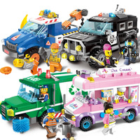 Enlighten City SWAT SUV Carbage Truck Road Wrecker Ice Cream Car Model Girls Building Blocks Kids Gifts Compatible Legoings Toys