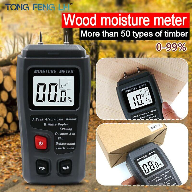 EMT01 de dos pines Digital madera humedad medidor 0-99.9% de probador de la humedad de la madera húmeda Detector con una gran pantalla LCD