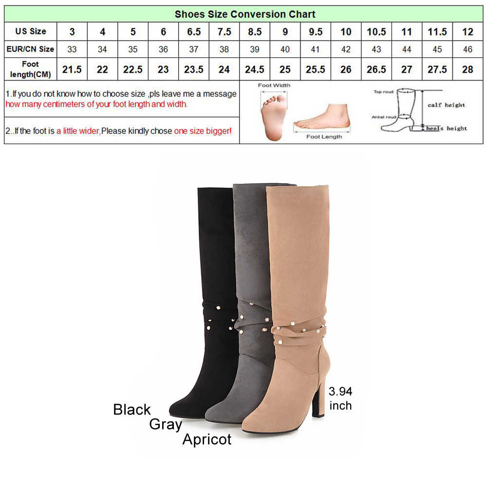 b13fd5d36 ... Meotina Winter Pleated Boots Women Knee High Boots Pearl Thick Heels  Boots Ladies Fashion Long Shoes