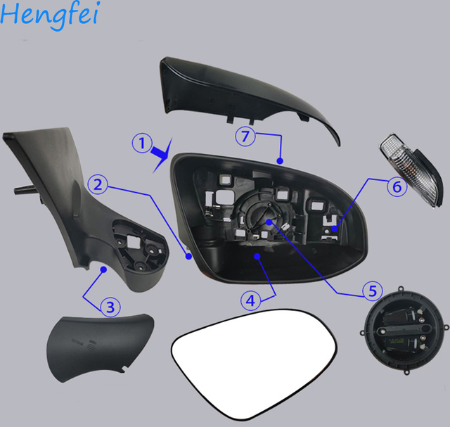 Toyota Yaris 용 HengFei 자동차 용품 2012 ~ 2019 모델 백미러 어셈블리 백미러 커버 프레임 방향 지시등