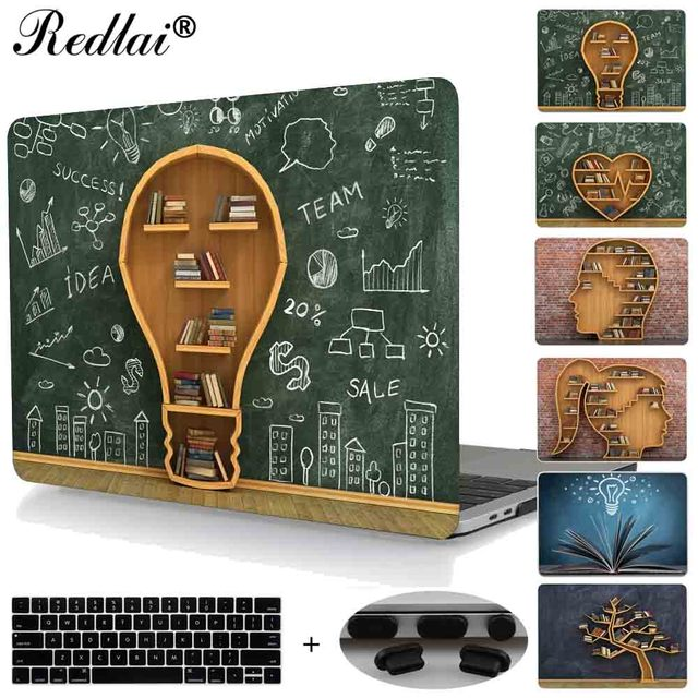 For Macbook Air 13 Pro 13 15 Retina 12 Case Creative Bookcase Plastic Hard Case For New Mac book Pro 13 15 Touch bar A1706 A1707