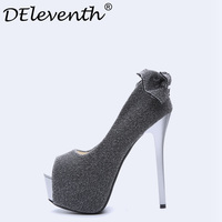 DEleventh Women Pumps Plarform High Heels 2018 Extreme Thin Heel Ladies Shoes Silver Sequined Cloth Wedding Party Shoes Size 34