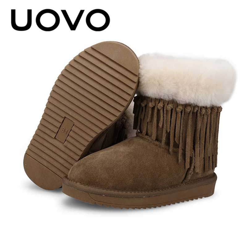 где купить Kids Suede Leather Snow Boots Vintage Tassel Winter Boots For Girls 3-12Years Warm Short Snowshoes Brown Children Footwear по лучшей цене