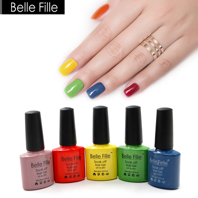 f4ae0980d7 US $1.87 15% OFF|BELLE FILLE UV Gel Nail Polish 10ml Nude Pink Red White  Green Gel Polish Soak off Gel For Nails Lacquer Vernis Semi Permanent 01-in  ...