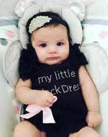 Baby Girl Bodysuits Overalls For Newborns Baby My Little Black Pink White Dress Romper Lovely Angel Summer Girl Bodysuit