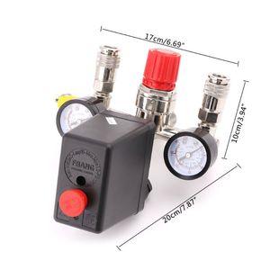 Image 5 - 220V 16A kontrola ciśnienia sprężarki powietrza zawór przełączający 0.5 1.25MPa z regulatorem kolektora i miernikami