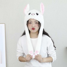 Rabbit Pinching Ear Hat Vocal Flashing Hat Plush Airbag Ear Pop-up Cute Dance Toy YA88