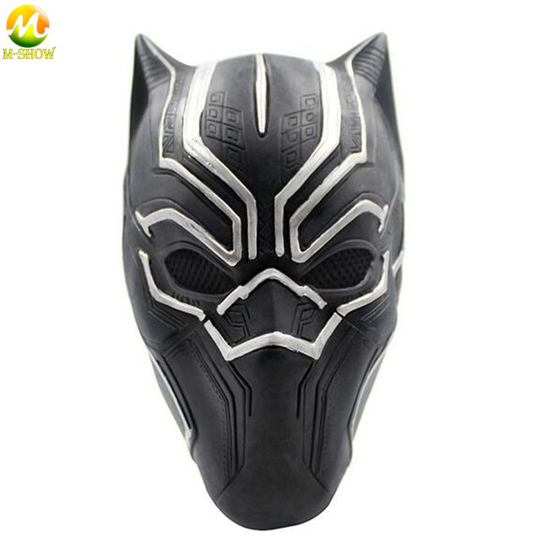 Top Quality Black Panther Mask Soft Latex Black Panther Helmet Fantastic Cosplay Men's Latex Party Mask For Halloween Party
