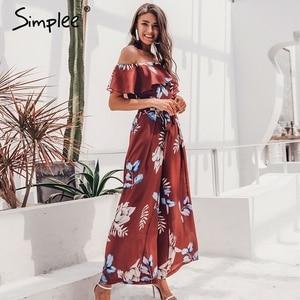 Image 3 - Simplee Bohemian floral print women jumpsuit Elegant off shoulder sashes ladies long jumpsuit Summer beach ruffled playsuit 2019