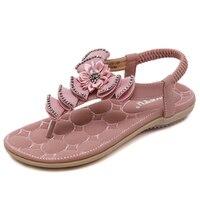 New 2018 Summer Sandals Women Bohemia Flat Shoes Woman Flip Flop Flower Crystal Beach Sandals Ladies