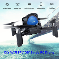 DIY Drone WIFI FPV 2MP Camera Altitude Hold Gravity Sensor RC Quadcopter Black with Blue Stable Anti Interference G sensor Mode