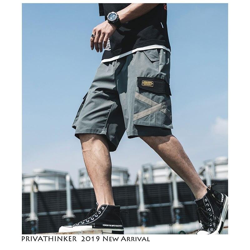 Privathinker Men Hip Hop Shorts Summer Casual Streetwear Mens Safari Style Casual Shorts Male Big Pockets Japanese Shorts 2019