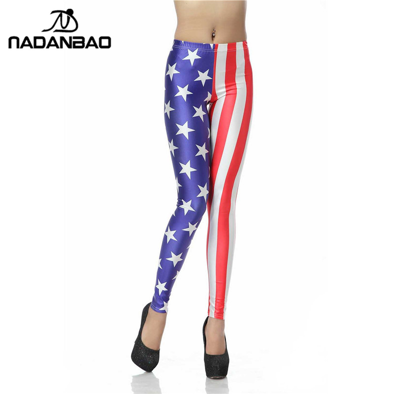 1d56ad63eef6ad NADANBAO Sexy Leggings Women American Flag High Waist Legins Star Stripe  Digital Print Leggins Workout Legging Plus Size Pants-in Leggings from  Women's ...