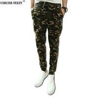 USRUER-YEEZY New Mens Camouflage Trousers Military Printing HipHop Sweat Pants Harem Dance Jogger Baggy Slacks Men Pants Joggers
