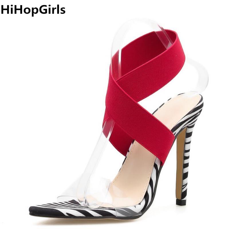 0d3b9df4 Sexy Hihopgirls Verano Stiletto Negro Abierto Nuevo Rojo Elástico OPk80nwX