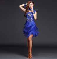 Womens Excellent Sequin Flower Ballroom Fringe Latin Salsa Dance Competition Dresses Costume Adult Dancing Clothes Clothing