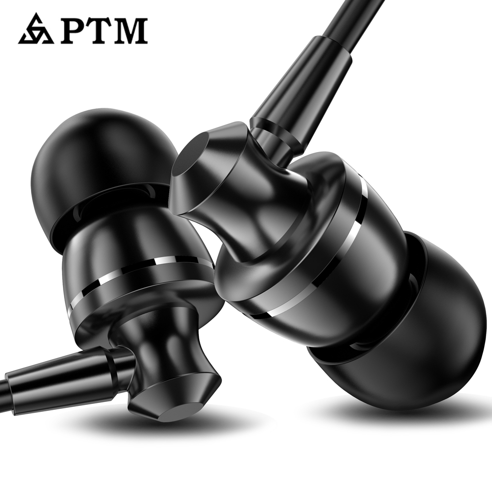Earphone PTM Noise Canceling Headphone HD HiFi Headset Super Bass Stereo Earbuds for Mobile phone for Iphone xiaomi in Phone Earphones Headphones from Consumer Electronics