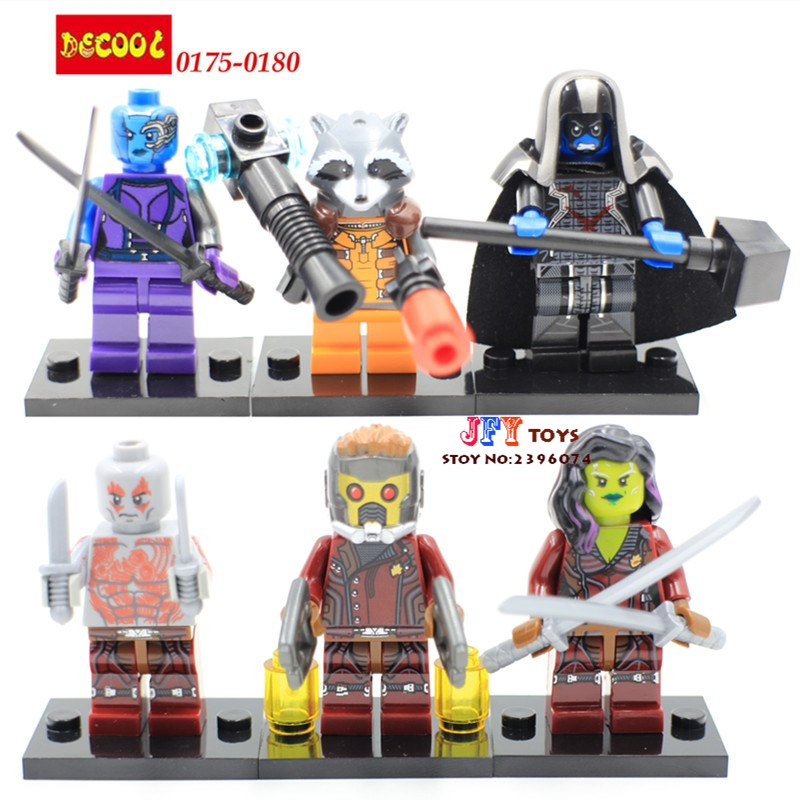 6pcs Marvel Super Hero Guardians of the Galaxy Rocket voice Star-Lord Building Blocks Bricks Kid Baby toys juguetes bela building blocks guardians of the galaxy groot rocket star space war set diy bricks toy compatible with superheroes