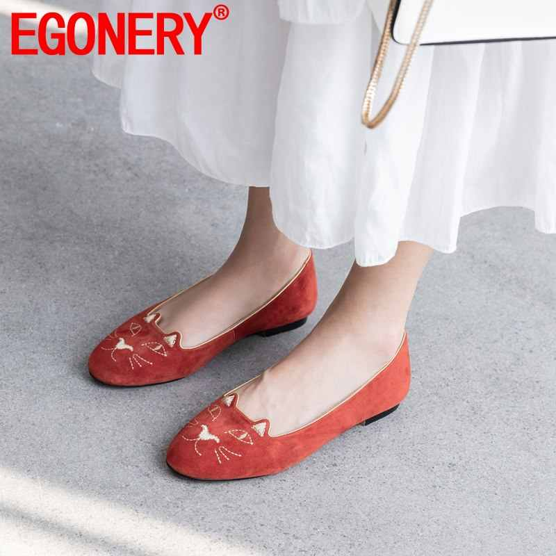 EGONERY schapenvacht vrouw loafers orange red black cat patroon kid suede ronde neus bootschoenen lente merk lederen platte schoenen