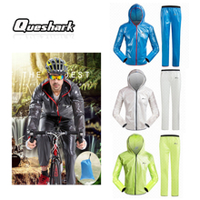 Queshark Professional Men Women Waterproof Cycling Jersey Sets Quick Dry Raincoat Jacket Windproof Breathable Riding Clothing